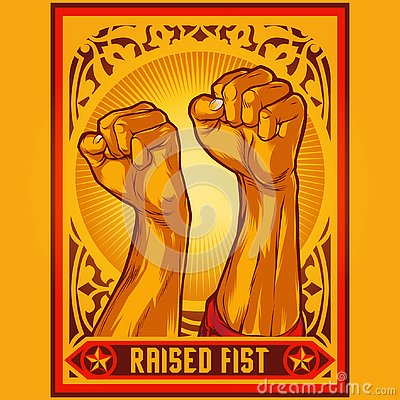 Free Clenched Fist Propaganda Poster Illustration Stock Photo - 125405160