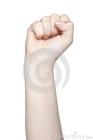 Clenched Fist A Symbol Of Strength And Violence Isolated On Wh
