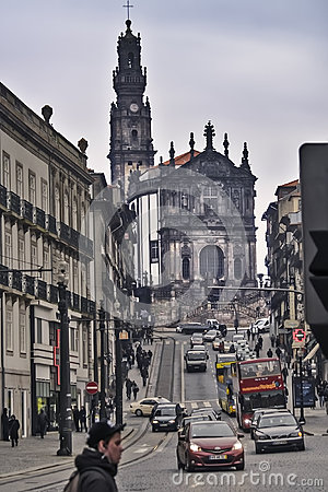 Clerigos church and Oporto street Editorial Photography