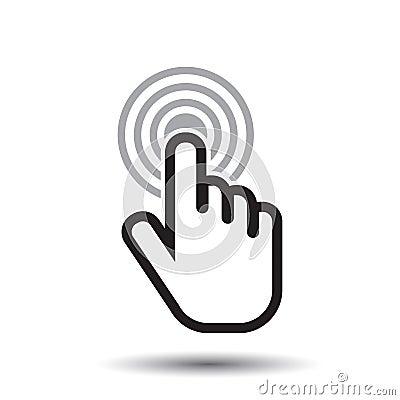 Free Click Hand Icon. Cursor Finger Sign Flat Vector. Stock Photo - 82899230