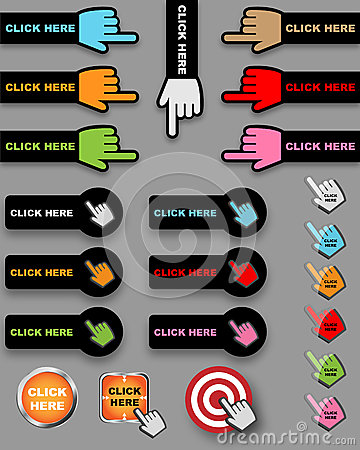 Free Click Here Buttons Stock Images - 25341994