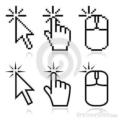 Free Click Here Mouse Cursors Stock Images - 34197034