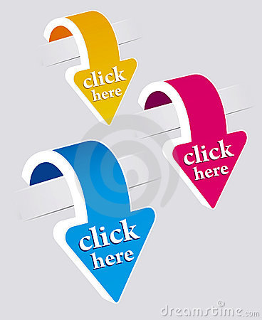 Free Click Here Stickers Set. Royalty Free Stock Photo - 19733735