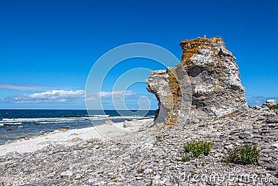 Cliff on the Baltic Sea coastline in Sweden