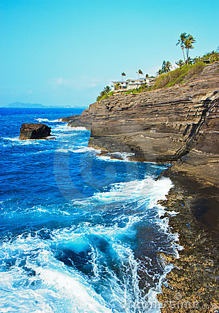 Cliff Near Spitting Cave of Portlock, Oahu