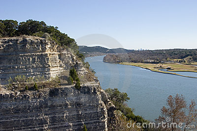 Cliff next to lake Austin