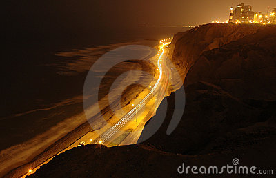 Cliff of Pacific ocean on night