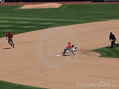 Cliff Pennington slides to second attemping steal Editorial Image
