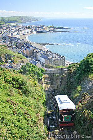Cliff railway with Aberystwyth in the background