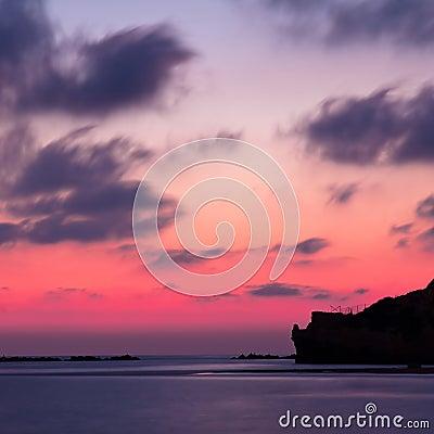 Cliff at twilight
