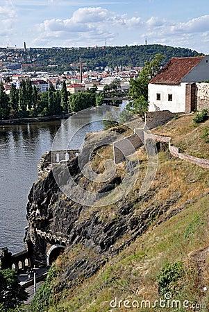 Cliffs above the Vltava River in Prague