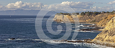Cliffs and beach along pacific ocean coastline