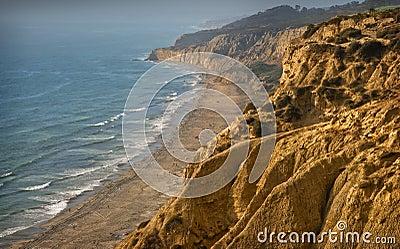 Cliffs and Beach at Sunset