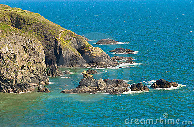 Cliffs by  blue sea, Ireland