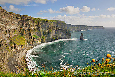 Cliffs, castle tower, west coast of ireland