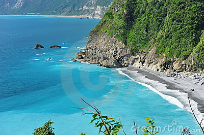 Cliffs and clear blue sea in Taiwan