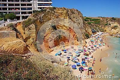 Cliffs at the Dona Ana beach, Algarve coast Editorial Stock Image