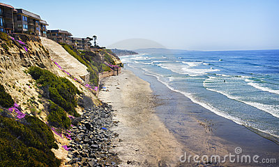 Cliffs, Homes, Beach, and Ocean, California
