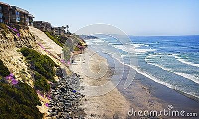 Cliffs, Homes, Beach, and Ocean, California