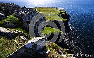 Cliffs and lighthouse, scotland