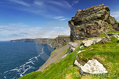 Cliffs of Moher with blue sky