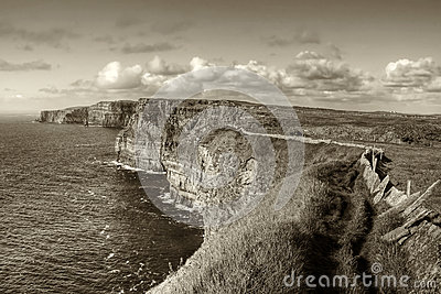 Cliffs of Moher in sepia