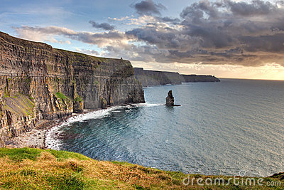 Cliffs of Moher at sunset in Irelnad.