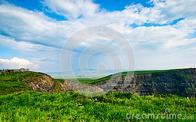Cliffs of Moher  under blue sky , Ireland