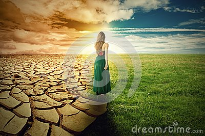 A Climate Change Concept Image. Landscape green grass and drought land