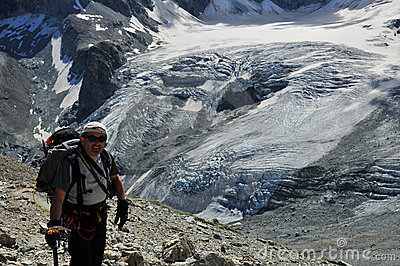 Climber above the Tiefmatten glacier