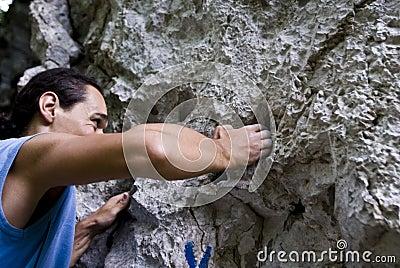 Climber on crux