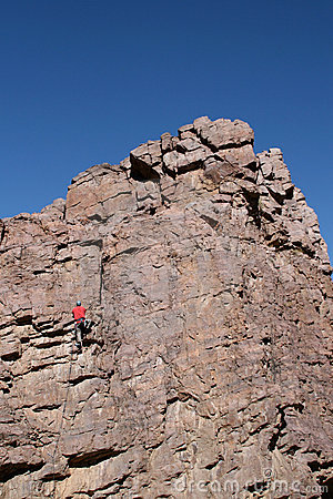 A climber heading for the top