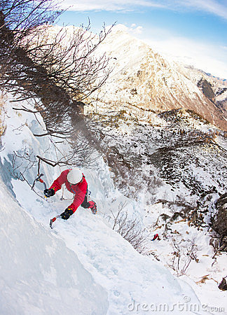 Climber on a ice fall