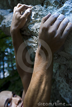 Free Climber On Crux Stock Photography - 2820742