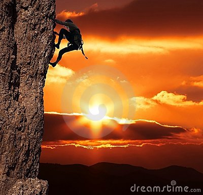 Free Climber On Sanset Royalty Free Stock Photography - 1954207