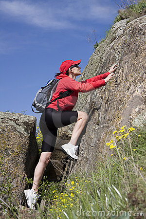 Free Climber On The Rock Royalty Free Stock Photos - 4920738