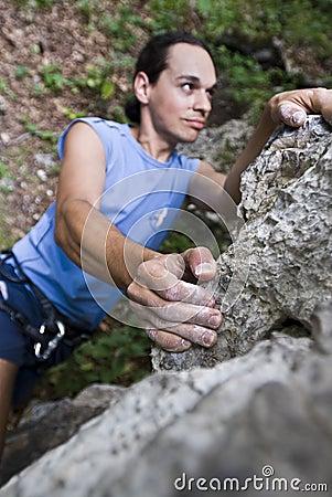 Climber preparing to jump