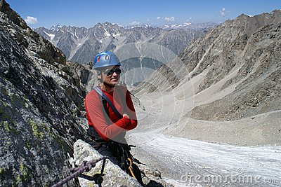 Climber in red clothes