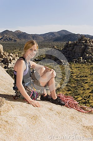 Climber on Rocks with Gear,