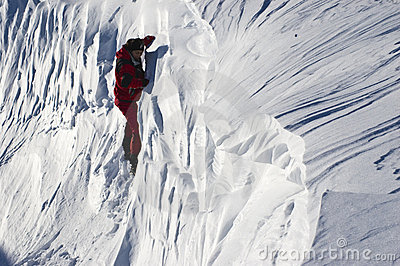 Climber in the snow