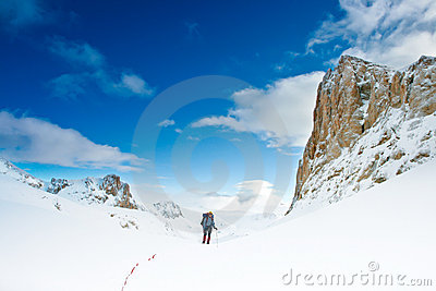 Climber in the snowy mountain