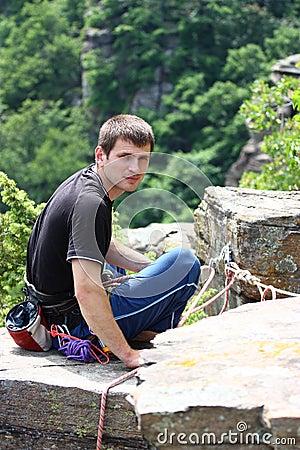 A climber on a top hill