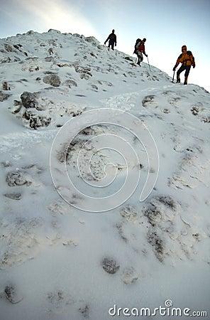 Climbers descending the mountain.