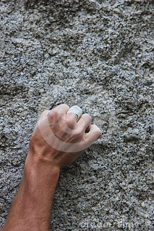 Free Climbers Hand On Granite Stock Photography - 24483052