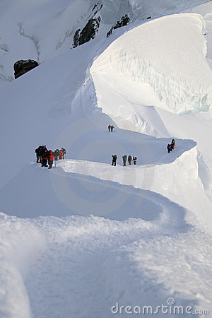 Climbers in high mountains