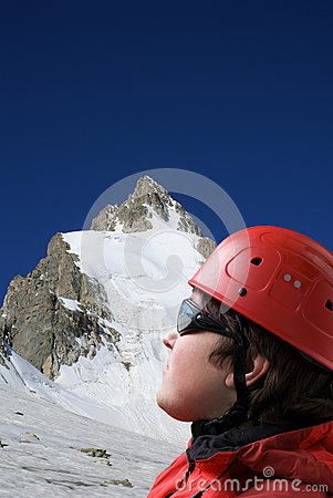 Climbers looks at the top of mountain