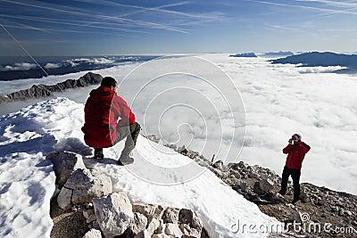 Climbers on the mountain peak