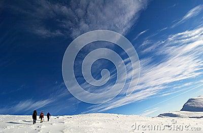 Climbers near the summit.