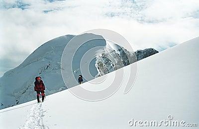 Climbers in Tan-Shan mountains