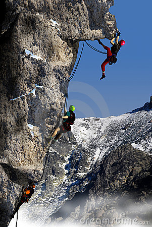 Free Climbing A High Mountain Royalty Free Stock Photography - 18406607